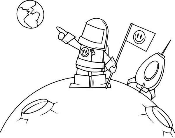 Moon Lander And Astronaut Sheet Coloring Pages
